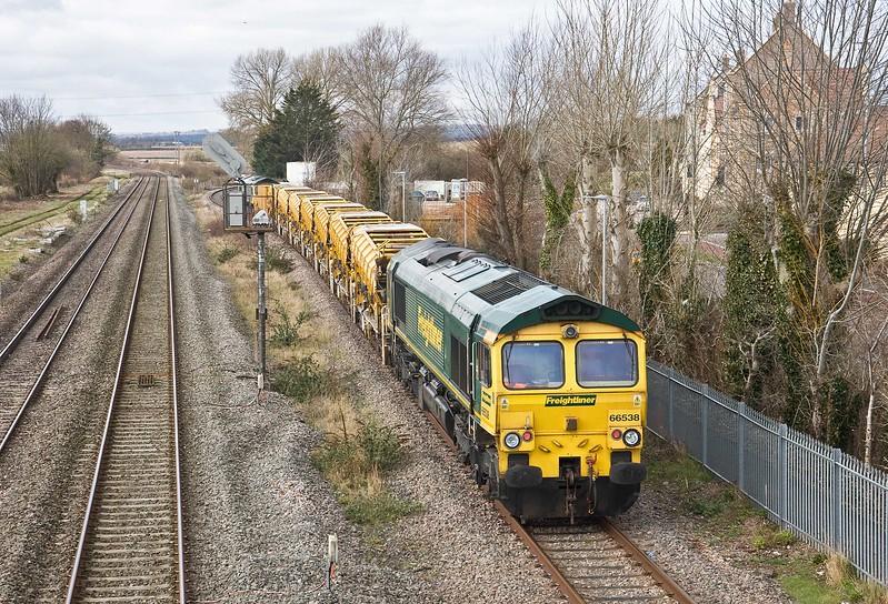 66534/66538, 10.25 Taunton Fairwater Yard-Bishops Lydeard, Norton Fitzwarren, near Taunton, 21-3-18.