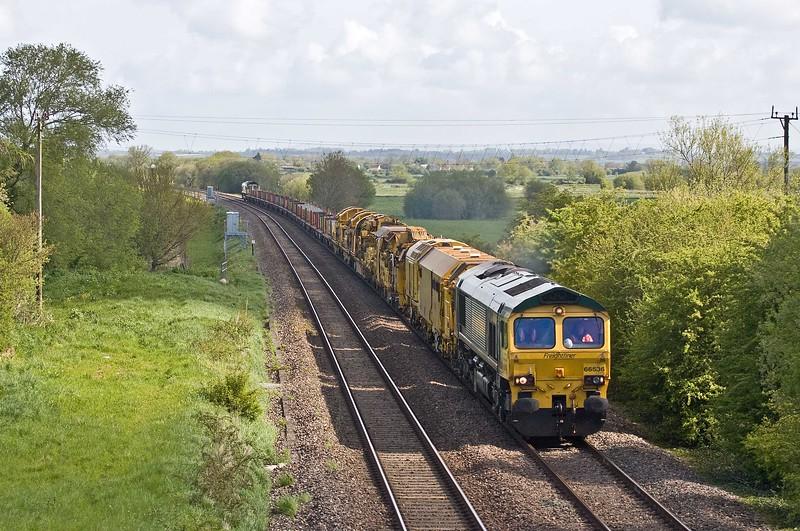 66536/66543, 05.05 Honeybourne North Junction-Taunton Fairwater Yard, Bankland, near Bridgwater, 3-5-18.