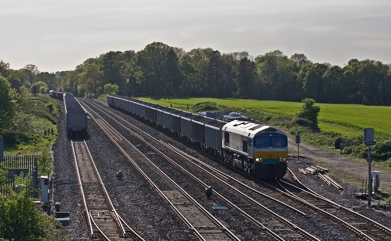 66711, 16.43 Whatley Quarry-Wellingborough, awaiting road Woodborough up loop, near Pewsey, 10-5-18, late. 59001, 15.24 Acton Yard-Whatley Quarry, awaiting road.