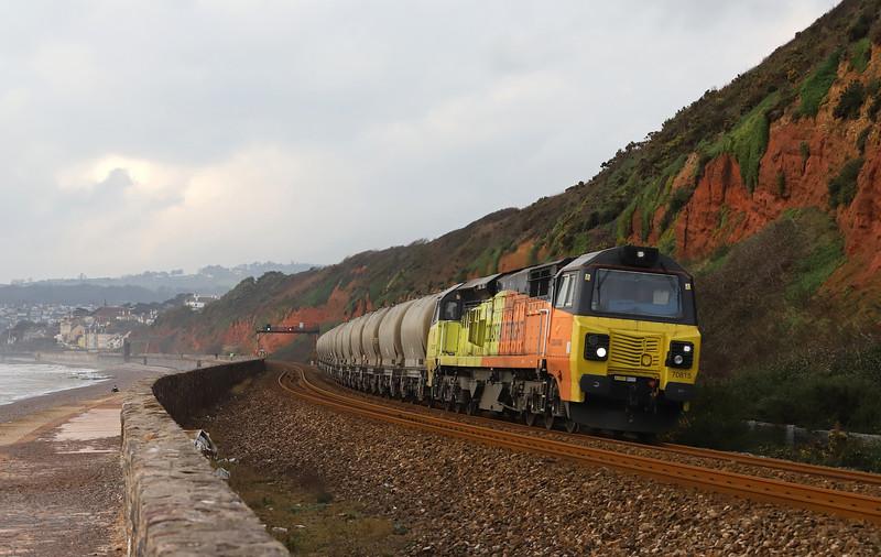70815, 08.00 Moorswater-Aberthaw Cement Works, approaching Dawlish Warren, 22-11-18.