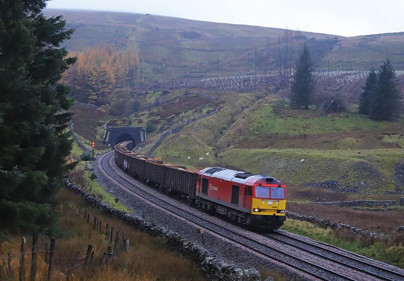 60063, 21.45 Tees Dock-Newbiggin, Blea Moor Tunnel, 1-11-18.
