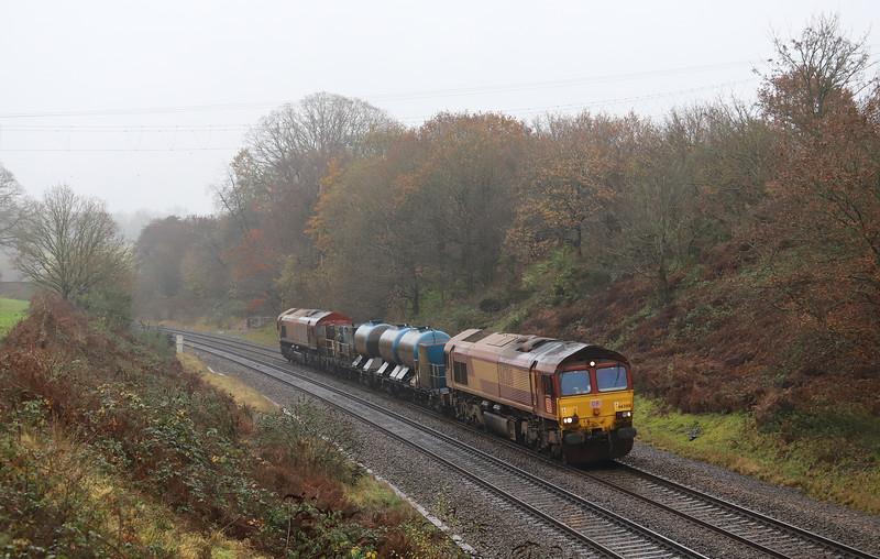 66200/66104, 09.07 Westbury-Plymouth Tavistock Junction Yard, via Salisbury, Whiteball, 24-11-18.