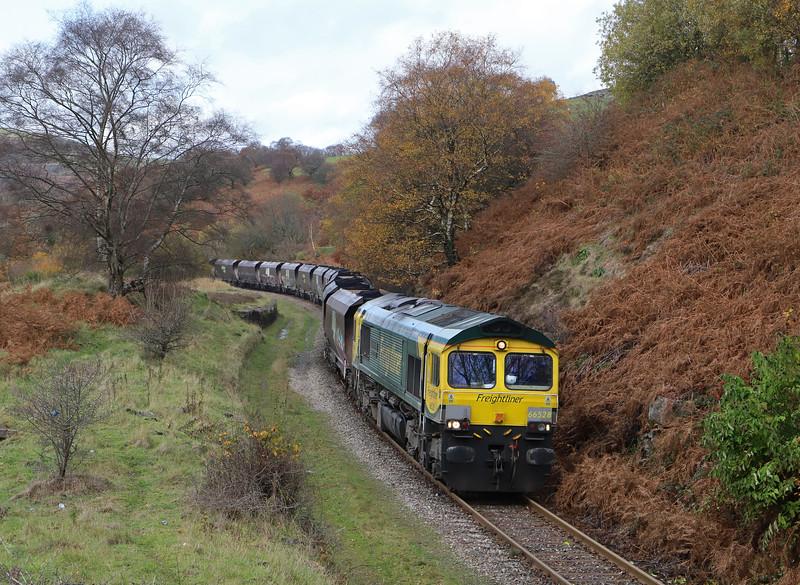 66528, 10.39 Cwmbargoed Opencast Colliery-Port Talbot Grange Sidings, Bedlinog, near Merthyr Tydfil, 13-11-18.