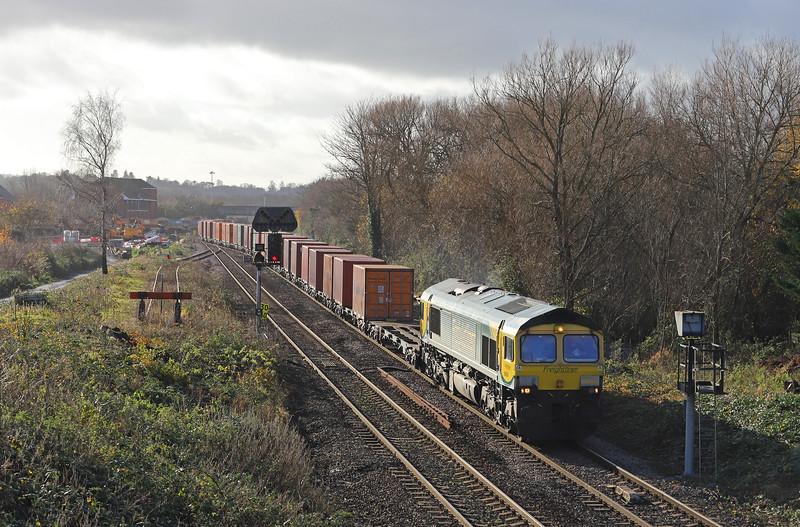 66504, 10.14 Southampton MCT-Bristol Freightliner Terminal, Hawkeridge Junction, Westbury, 30-11-18.