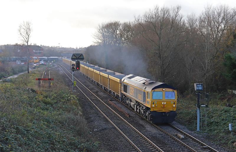 59003, 11.56 Westbury Yard-Cliffe Hilkl Stud Farm, Hawkeridge Junction, Westbury, 30-11-18.
