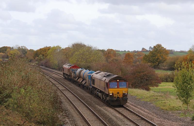 66067/66104, 089.50 Westbury-St Blazey, via Salisbury, Creech St Michael, near Taunton, 9-11-18,