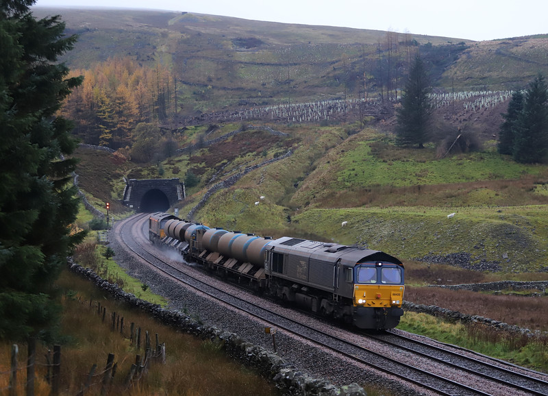 66433/66428, 20.20 Carlisle Kingmoor-Carlisle Kingmoor, Blea Moor Tunnel, 1-11-18.