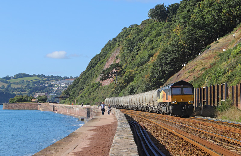 66847, 08.00 Moorswater Lafarge-Aberthaw Cement Works, Holcombe, Teignmouth, 13-9-18.