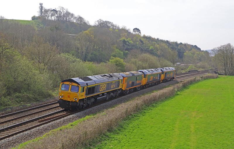 66714, hauling 73107/50007/50049, 08.13 Bodmin Siding-Bristol Temple Meads, Cullompton, 15-4-19.