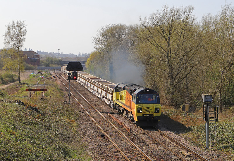 70802, 11.56 Westbury Yard-Cliffe Hill Stud Farm, Hawkeridge Junction, Westbury, 1-4-19. First Colas working of this train.