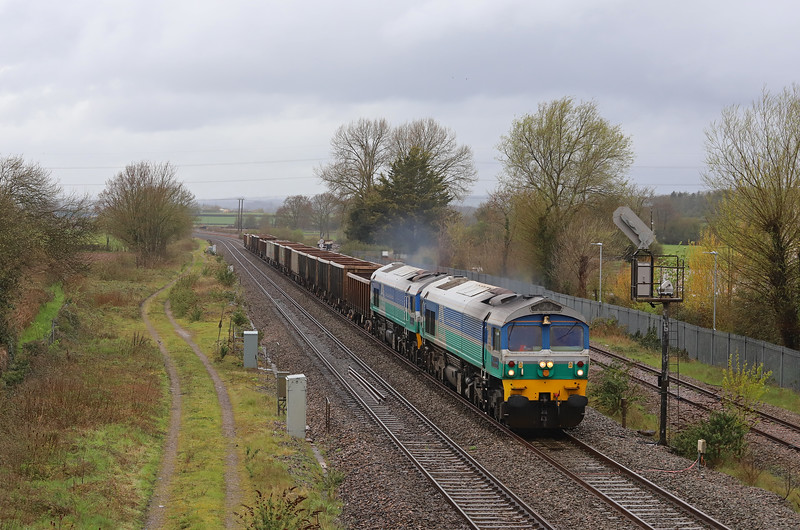 59001/59002, 13.44 Exeter Riverside Yard-Westbury Yard, Norton Fitzwarren, near Taunton, 5-4-19.