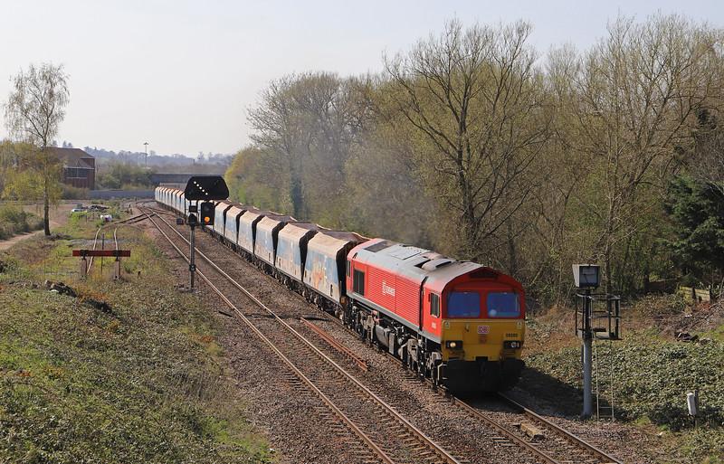 59205, 11.30 Merehead Quarry-Wootton Bassett, Hawkeridge Junction, Westbury, 1-4-19.