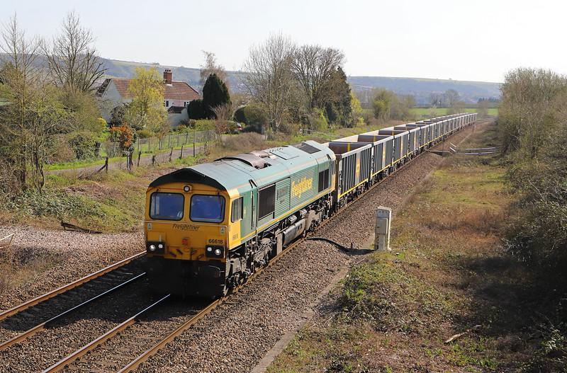 66618, 13.25 Southampton Up Yard-Bristol East Depot, Heywood, near Westbury, 1-4-19.