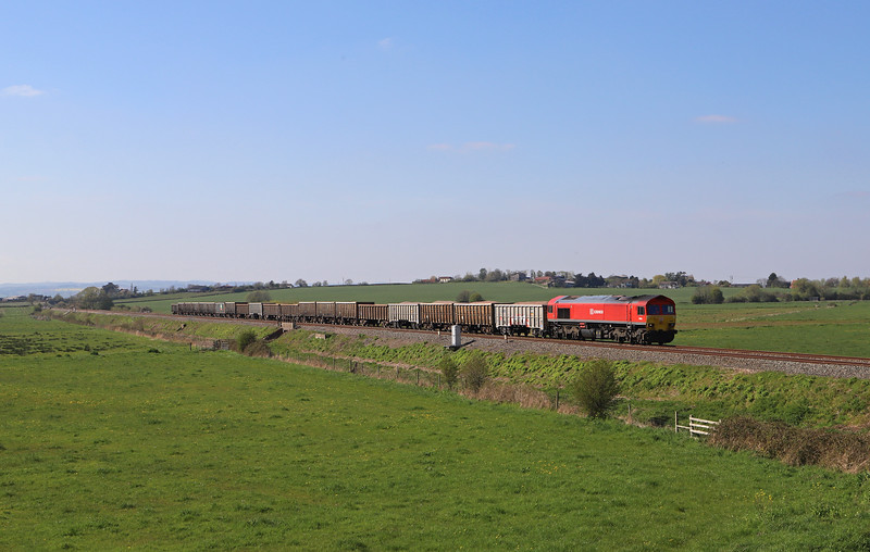 59205, 13.44 Exeter Riverside Yard-Westbury Yard, Oath, near Langport, 11-4-19.