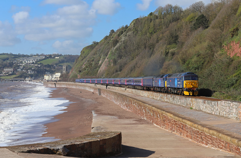 47813/47815, 08.35 Plymouth Laira T&RSMD-Ely Papworth Sidings, Sprey Point, Teignmouth, 11-4-19.
