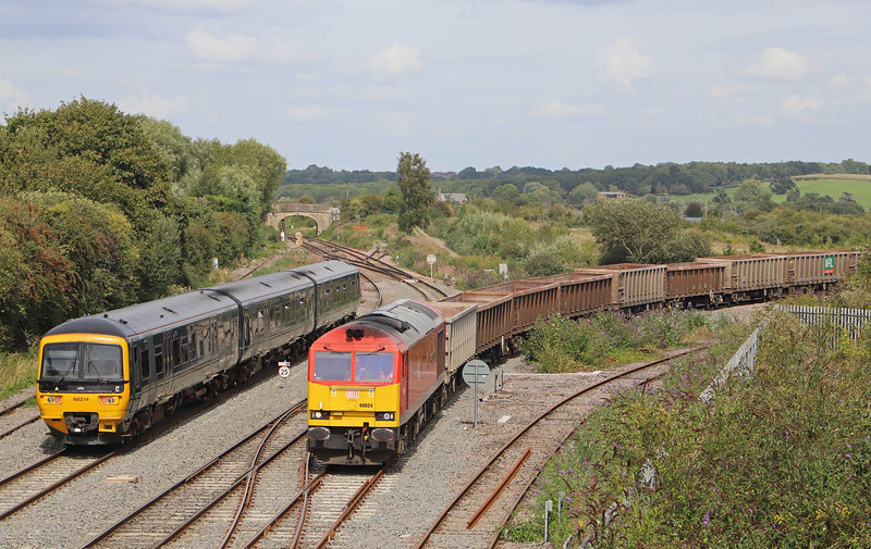 60024, 11,45 Oxford Banbury Road Sidings-Whatley Quarry, Westbury North Junction, 21-8-19. 166214, 14.10 Frome-Swindon.