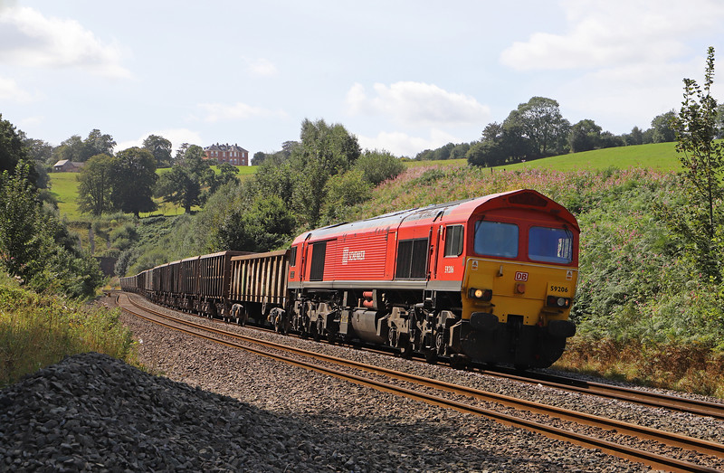 59206, 13.44 Exeter Riverside Yard-Whatley Quarry,  Marlands, near Wellington, 20-8-19.