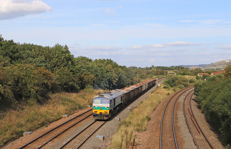 59005, 13.44 Exeter Riverside Yard-Whatley Quarry,  Fairwood Junction, near Westbury, 21-8-19.