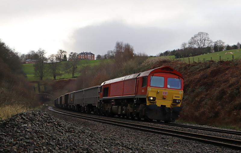 59203, 13.44 Exeter Riverside Yard-Whatley Quarry, Marlands, near Wellington, 11-12-19.