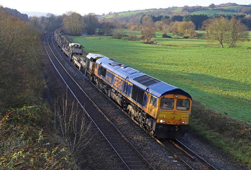 66766, 08.45 Dawlish-Westbury Yard, via Teignmouth, Cullompton. 1-12-19.