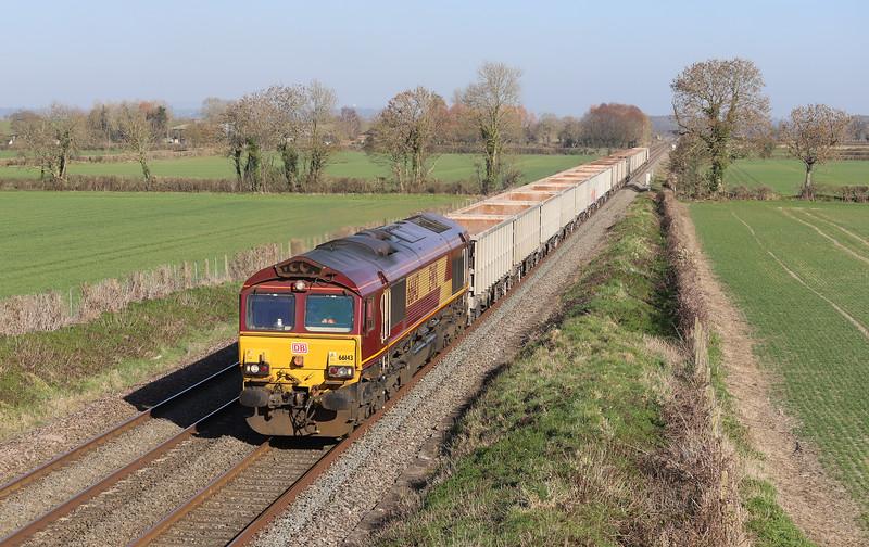 66143, 11.55 Oxford Banbury Road Sidings-Whatley Quarry, Edington, near Westbury, 26-2-19.