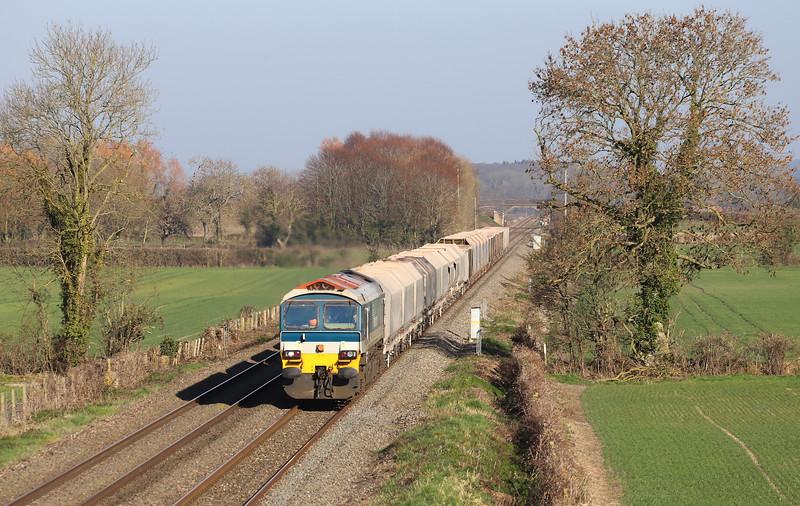 59102, 12.40 London Acton Yard-Merehead Quarry, Edington, near Westbury, 26-2-19.