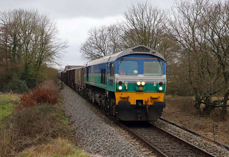 59005, diverted 13.28 Exeter Riverside Yard-Whatley Quarry, Cranbrook, near Exeter, 20-2-19. Whiteball Tunnel closed for three weeks from February 18.