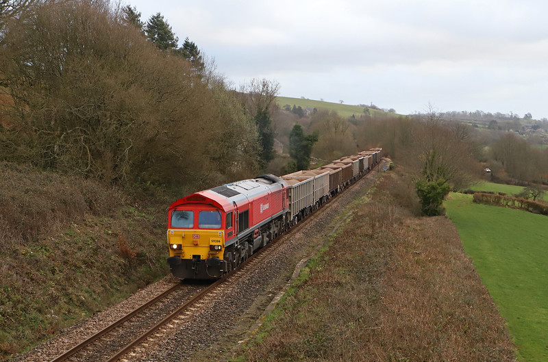 59206, first running of 14.30 Westbury-Exeter Riverside Yard, via Yeovil, Wilmington, near Honiton, 28-2-19. 45min late due to late-running eastbound diverted HST.
