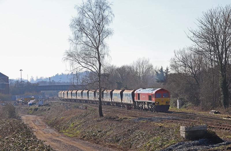 59201, 11.30 Merehead Quarry-Wootton Bassett, approaching Hawkeridge Junction, Westbury, 15-2-19.