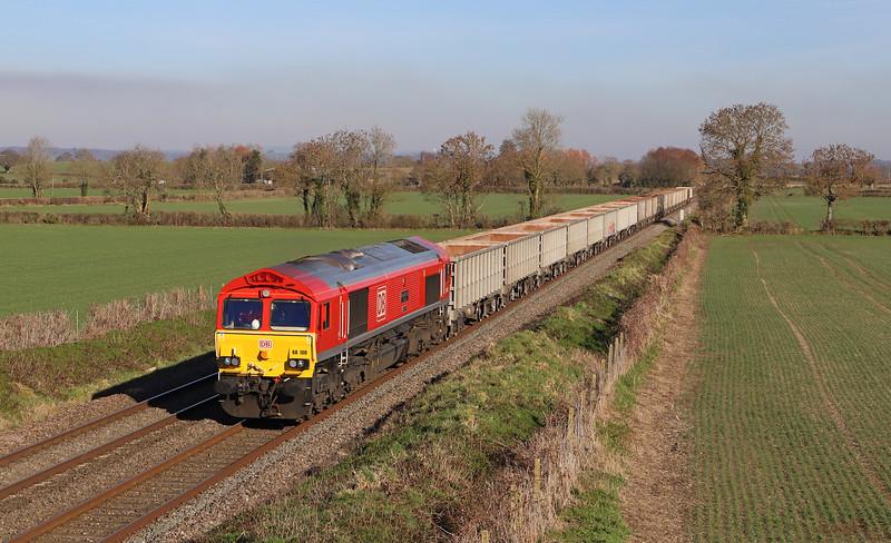 66100,  11.55 Oxford Banbury Road Sidings-Whatley Quarry, Cowleaze Lane, Edington, near Westbury, 14-2-19.