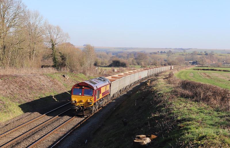 66012, 11.55 Oxford Banbury Road Sidings-Whatley Quarry, Great Cheverell, near Westbury,  15-2-19,