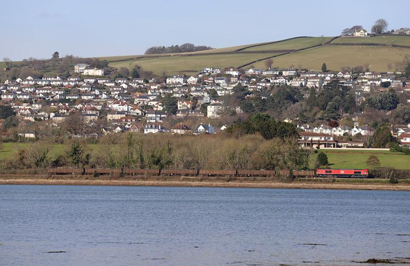 66044, 10.58 Burngullow-Exeter Riverside Yard, Bishopsteignton, near Teignmouth, 13-2-19. Taken from Combeinteignhead.