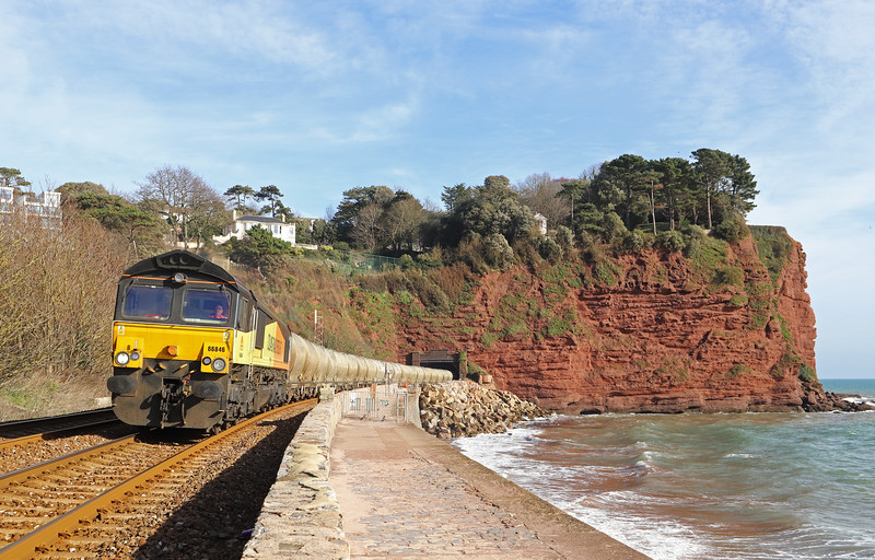 66846, 03.36 Aberthaw Cement Works-Moorswater, Holcombe, Teignmouth, 13-2-19. 3hr late.