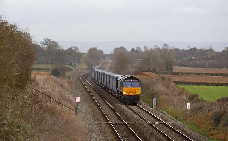 66423, 10.47 Daventry Railfreight Terminal-Cardiff Wentloog, Churcham, near Gloucester, 6-2-19.