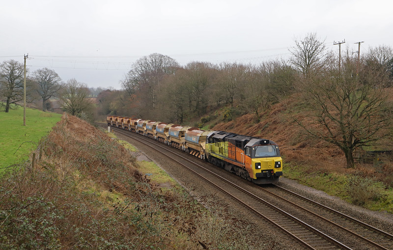 70816, 10.44 Oxford Hinksey Sidings-Newton Abbot West Junction, Whiteball, 20-1-19. In connection with a weekend blockage between Newton Abbot and Plymouth