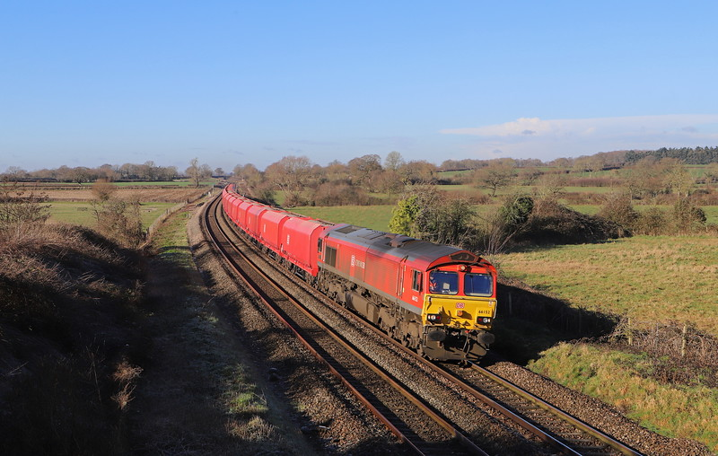 66152, 10.37 Whatley Quarry-Hayes and Harlington Tarmac Sidings, Great Cheverell, near Westbury, 30-1-19.