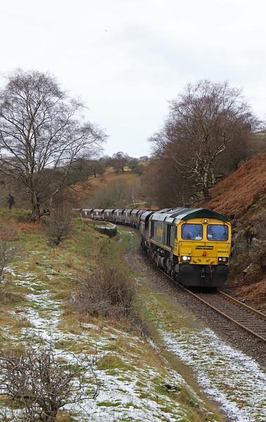 66593, 10.39 Cwmbargoed Opencast Colliery-Port Talbot Grange Sidings, Bedlinog, near Merthyr Tydfil, 23-1-19.