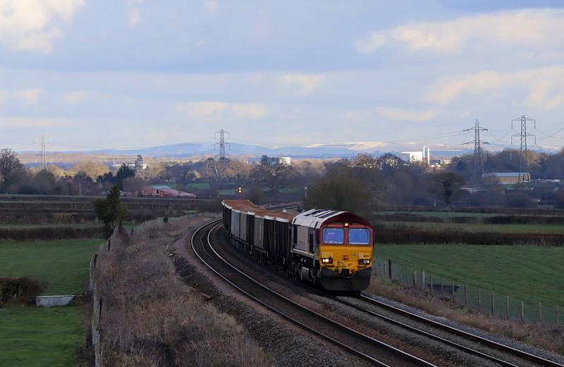 66162, 11.30 Fareham Arc Sidings-Whatley Quarry, Pot Lane, Berkley, near Frome, 30-1-19.
