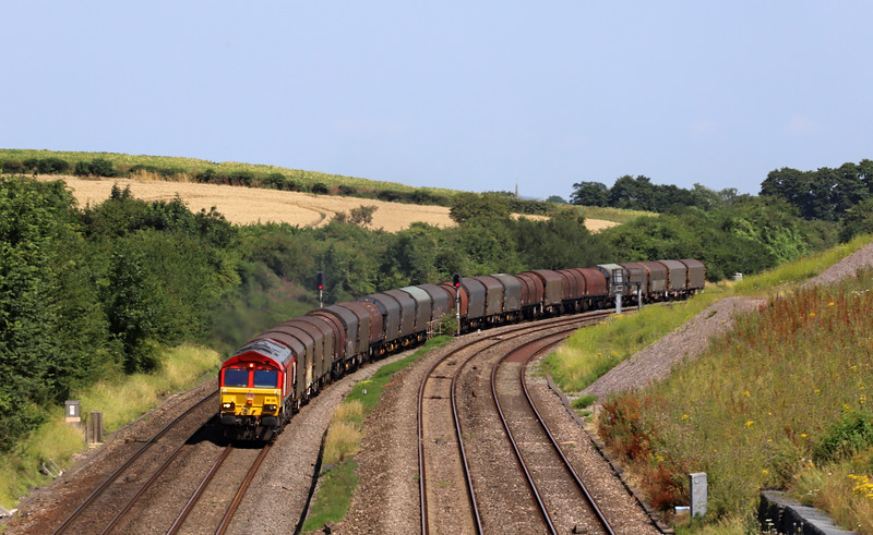 66130, 09.15 Round Oak-Margam, diverted via Yate and the Severn Tunnel, Standish Junction, near Stroud, 23-7-19. Gloucester-STJ route closed for engineering work at Over.