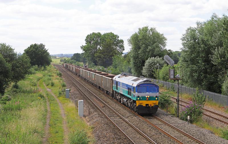 59002, 13.44 Exeter Riverside Yard-Whatley Quarry, Norton Fitzwarren,  near Taunton, 2-7-19.