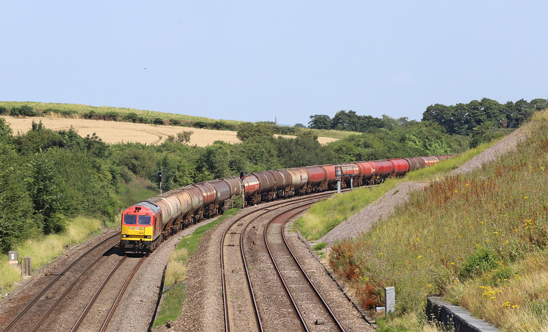 60001, 04.37 Robeston Sidings-Westerleigh, diverted via the Severn Tunnel, Yate and Gloucester run-around, Standish Junction, near Stroud, 23-7-19. Gloucester-STJ route closed for engineering work at Over.