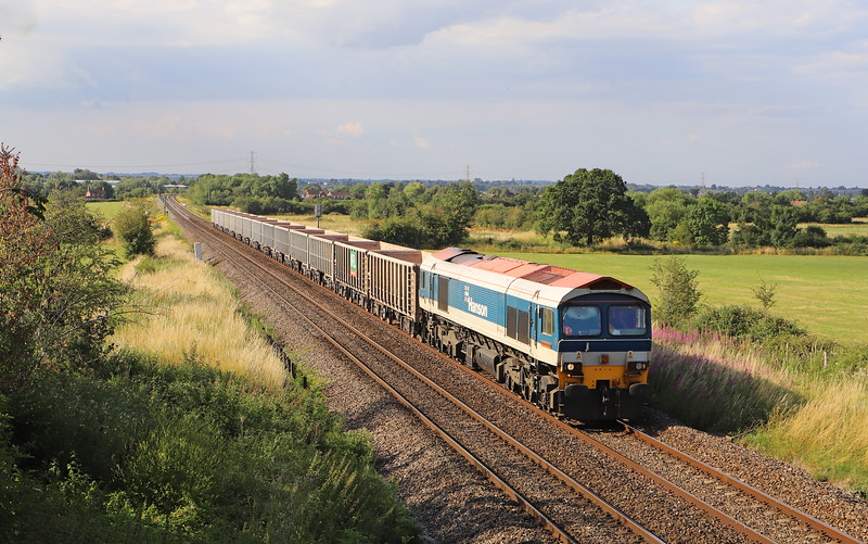 59104, 14.32 London Acton Yard-Merehead Quarry, via Swindon and Melksham, Heywood, near Westbury, 16-7-19.