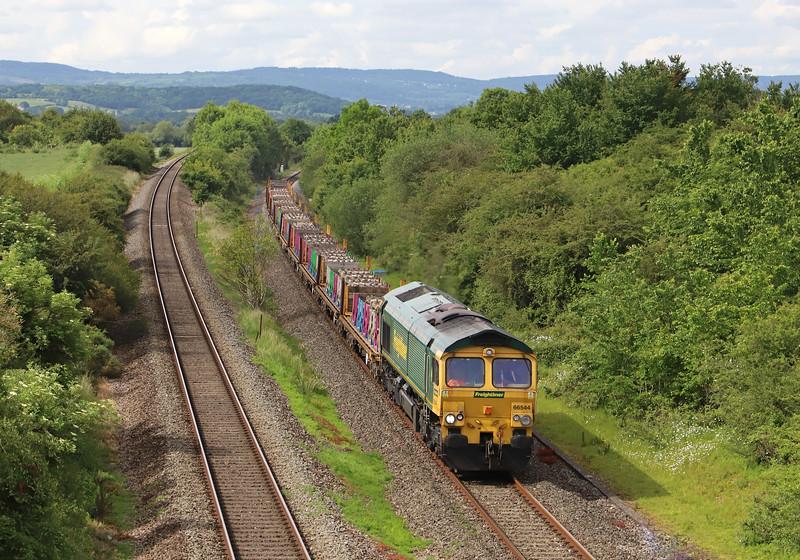 66544, 09.56 Taunton Fairwater Yard-Doncaster Wood Yard, West Lyng, near Taunton, 10-6-19.
