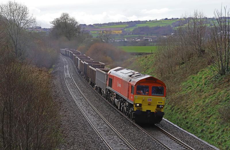 59205, 13.44 Exeter Riverside Yard-Whatley Quarry, Whiteball, 12-3-19.