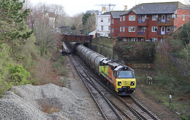 70802, 23.16 Aberthaw Cement Works-Moorswater (via Swindon, Reading, Westbury and Yeovil Junction) approaching Exeter Central, 6-3-19.