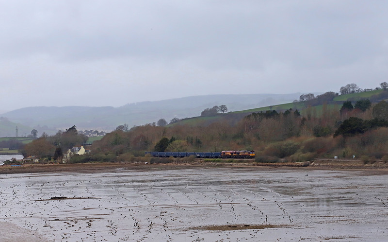 66091/66112, 09.56 Burngullow-Exeter Riverside Yard, approaching Teignmouth, 8-3-19.