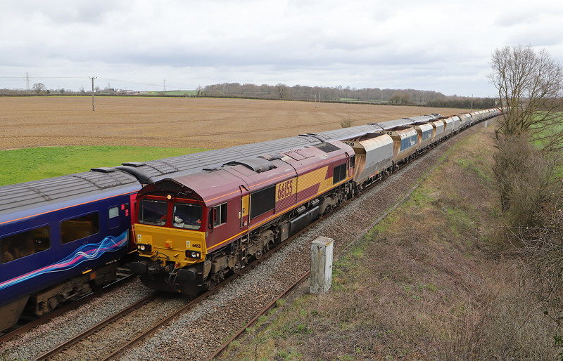 66155, 07.27 Wembley Euro Freight Operations Centre-Whatley Quarry, Berkley, near Frome, 18-3-19.