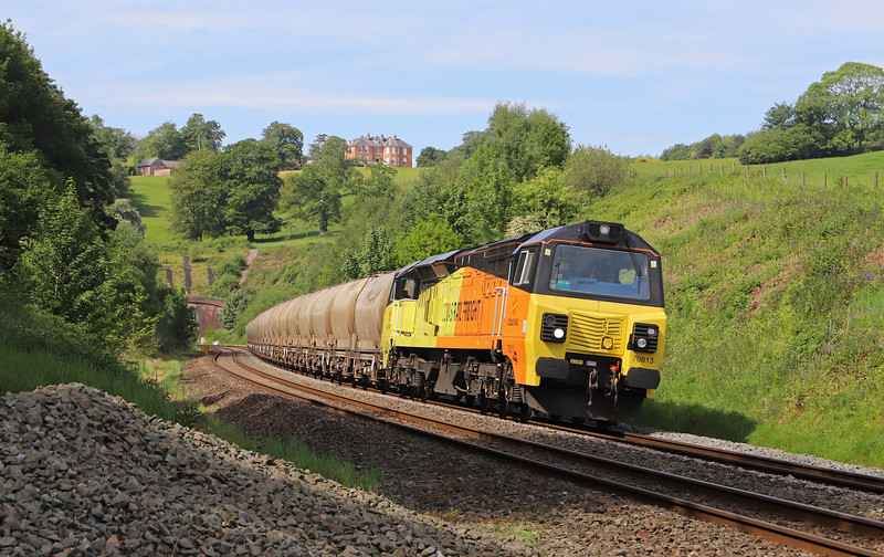 70813, 08.00 Moorswater Lafarge-Aberthaw Cement Works, Marlands, near Wellington, 23-5-19.