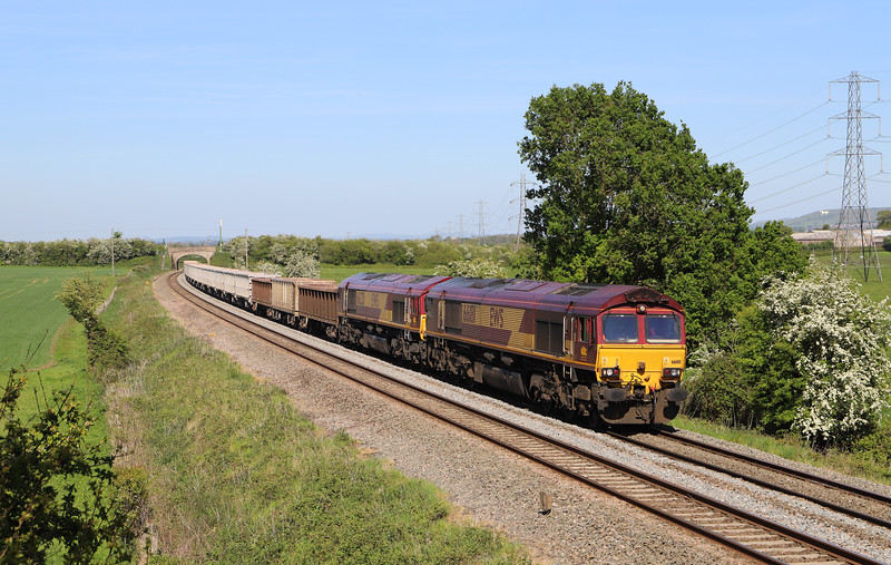 66181/66221, 13.44 Exeter Riverside Yard-Whatley Quarry, Berkley Marsh, near Frome, 14-5-19.