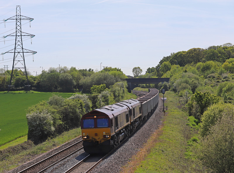 66221/66181, 13.44 Exeter Riverside Yard-Whatley Quarry, Berkley Marsh, near Frome, 14-5-19.